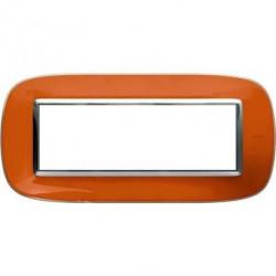 Rama Bticino HB4806DR Axolute - Rama din termoplastic, eliptica 6 module, st italian, liquid orange