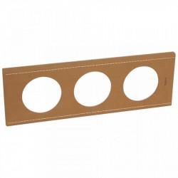 Rama Legrand 69283 Celiane - Rama din piele, 3 posturi, interax 71mm, piele caramel