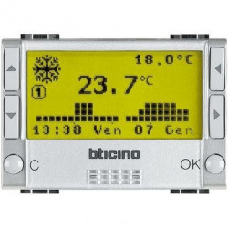 Termostat Bticino NT4451 Living Light - Termostat de ambianta cu temporizator, 3M, 2A, argintiu