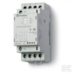 Contactor modular Finder 223400244320 - CONT. MOD., 4 ND, 24V C.A./C.C., 25 A, AGSNO2; + LED