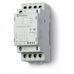 Contactor modular Finder 223402304340 - CONT. MOD., 4 ND, 230V C.A./C.C., 25 A, AGSNO2; AUTO-ON-OFF + +