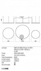Corp iluminat Redo 01-1924 Orbit - Lustra led, 163W, 4000k, 13382lm, alb