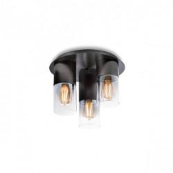 Corp iluminat Redo 01-2019 Iwi - Plafoniera, max 3x42W, E27, IP20, negru, sticlă fumuriu degrade.