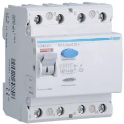 Intrerupator automat Hager CD484D - INTR.DIF. 4P 100A, 30MA, A