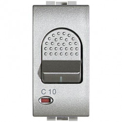 Intrerupator Bticino NT4301/10 Living Light - Intrerupator cu disjunctor, 1M, 10A, 3kA, 230V, argintiu