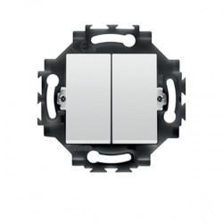 Intrerupator Gewiss GW35052W Dahlia - Intrerupator dublu, cap scara, 1p, 10AX, alb