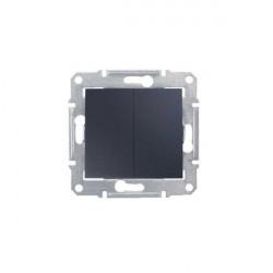 Intrerupator Schnedier SDN0300170 Sedna - Intrerupator dublu, 10AX 250V grafit