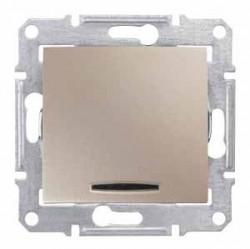 Intrerupator Schneider SDN1500268 Sedna - Intrerupator cap scara cu indicator luminos albastru, 16 AX - 250 V, titan