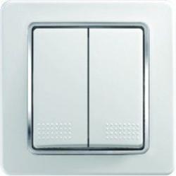 Intrerupator Tem SE50CO-B Ekonomik - Intrerupator dublu alb cu inel argintiu