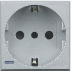Priza Bticino HC4140 Axolute - Priza standard italian, 2P+T, 16A, 250V, 2M, argintiu