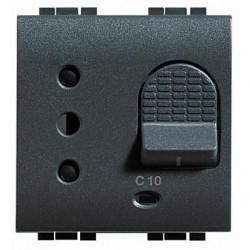 Priza Bticino L4311/10 Living Light - Priza cu disjunctor, 2M, 10A, 3kA, negru