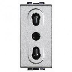 Priza Bticino NT4180 Living Light - Priza standard italian, 2P+T, 16A, 1M, argintiu