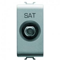 Priza SAT Gewiss GW14371 Chorus - Priza SAT de capat, atenuare 0dB, 1M, Titanium