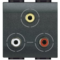 Priza semnal Bticino L4283 Living Light - Conector triplu RCA, 2M, negru