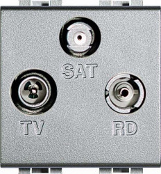 Priza TV/RD/SAT Bticino NT4210D Living Light - Priza TV+SAT+RD de capat, 2M, argintiu