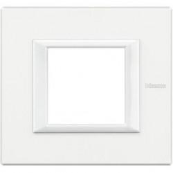 Rama Bticino HA4802HD Axolute - Rama metalica, rectangulara, 2 module, alb axolute