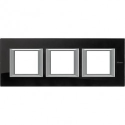 Rama Bticino HA4802M3HVNB Axolute - Rama din sticla, rectangulara, 2+2+2 module, st. german, nighter