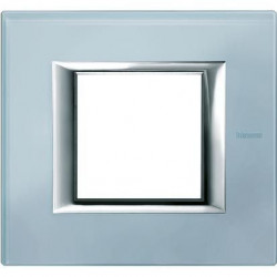 Rama Bticino HA4802VZS Axolute - Rama din sticla, rectangulara, 2 module, blue glass