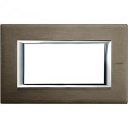 Rama Bticino HA4804BR Axolute - Rama metalica, rectangulara, 4 module, st. italian, brushed bronze