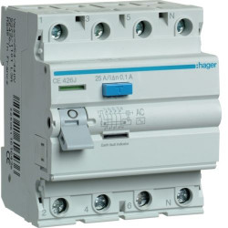 Intrerupator automat Hager CE426J - INTR.DIF. 4P 25A, 100MA, AC
