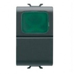 Intrerupator Gewiss GW12142 Chorus - Intrerupator cu lampa semnalizare verde 1M 1P NO 16A NEGRU
