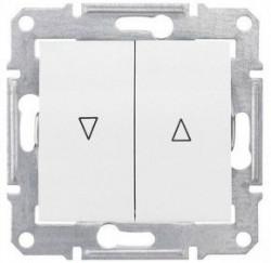 Intrerupator Schnedier SDN1300121 Sedna - Intrerupator cu revenire pentru jaluzele cu interblocare electrica, 10 AX - 250 V, alb