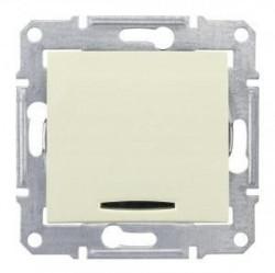 Intrerupator Schneider SDN1500247 Sedna - Intrerupator cap scara cu indicator luminos albastru, 16 AX - 250 V, bej