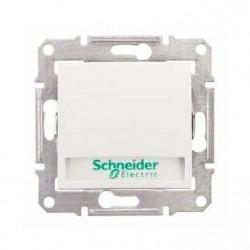 Intrerupator Schneider SDN1600321 Sedna - Intrerupator cu revenire si indicator luminos albastru,10 AX - 250 V, cu suport eticheta, alb