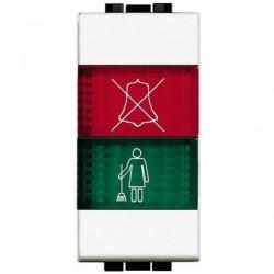Lampa Bticino N4373H Living Light - Lampa semnalizare cu difuzor rosu/verde deranjati si curatati camera , 1M, alb