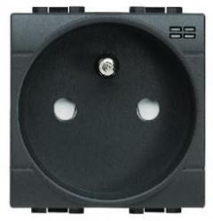 Priza Bticino L4144 Living Light - Priza standard francez cu lumina de ghidare, 2P+N, 16A, 250V, 2M, negru