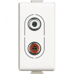 Priza Semnal Bticino AM4281 Matix - Conector audio dublu RCA, 1M, alb