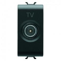 Priza TV Gewiss GW12364 Chorus - Priza TV intermediara, atenuare 14dB, 1M Tata, Negru