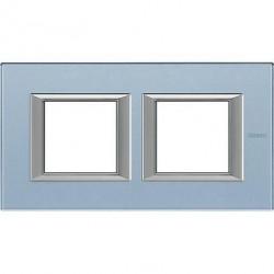 Rama Bticino HA4802M2HVZS Axolute - Rama din sticla, rectangulara, 2+2 module, st. german, blue glass