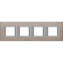 Rama Bticino HA4802M4HNX Axolute - Rama metalica, rectangulara, 2+2+2+2 module, st. german, brushed titanium