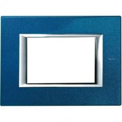 Rama Bticino HA4803BM Axolute - Rama metalica, rectangulara, 3 module, st. italian, blue meissen