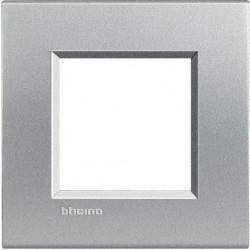 Rama Bticino LNA4802TE Living Light - Rama 2 module, rectangulara, din plastic polimerizat, argintiu