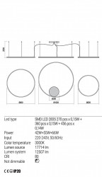 Corp iluminat Redo 01-1722 Orbit - Lustra led, 163W, 3000k, 12507lm, alb