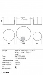 Corp iluminat Redo 01-1967 Orbit - Lustra led, 163W, 4000k, 13382lm, negru
