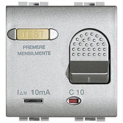Intrerupator Bticino NT4305/16 Living Light - Intrerupator cu disjunctor, 1M, 16A, 3kA, 230V, argintiu
