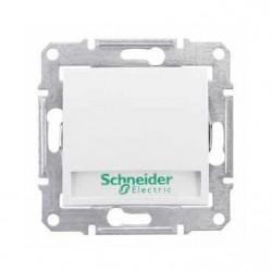 Intrerupator Schneider SDN1700421 Sedna - Intrerupator cu revenire cu suport eticheta si cu indicator luminos rosu, 10 AX - 12 V, alb