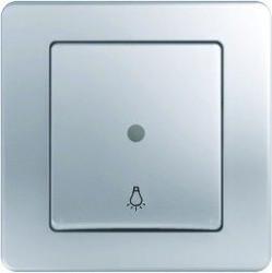 Intrerupator Tem SE11ESTI51-B Ekonomik - Buton simplu cu led argintiu