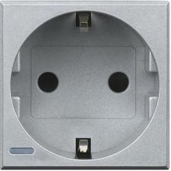 Priza Bticino HC4141W Axolute - Priza standard german, borne automate, 2P+T, 16A, 250V, 2M, argintiu