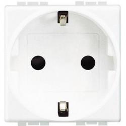 Priza Bticino N4141AN Living Light - Priza standard german, borne automate, 2P+T, 16A, 250V, 2M, alb