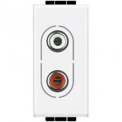 Priza Semnal Bticino N4281 Living Light - Conector audio dublu RCA, 1M, alb