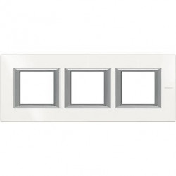 Rama Bticino HA4802M3HHD Axolute - Rama metalica, rectangulara, 2+2+2 module, st. german, alb axolute