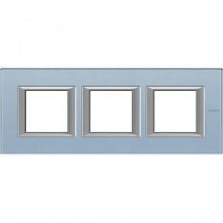Rama Bticino HA4802M3HVZS Axolute - Rama din sticla, rectangulara, 2+2+2 module, st. german, blue glass