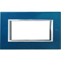 Rama Bticino HA4804BM Axolute - Rama metalica, rectangulara, 4 module, st. italian, blue meissen