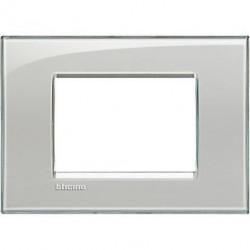 Rama Bticino LNA4803KG Living Light - Rama 3 module, rectangulara, din plastic polimerizat, cold grey