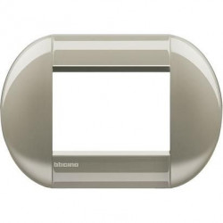 Rama Bticino LNB4803TC Living Light - Rama eliptica 3 module, rectangulara, din zamak, titan