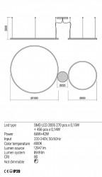 Corp iluminat Redo 01-1922 Orbit - Lustra led, 108W, 4000k, 8949lm, alb